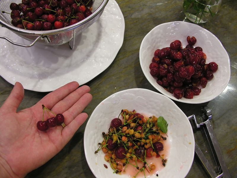 Little cherries being pitted