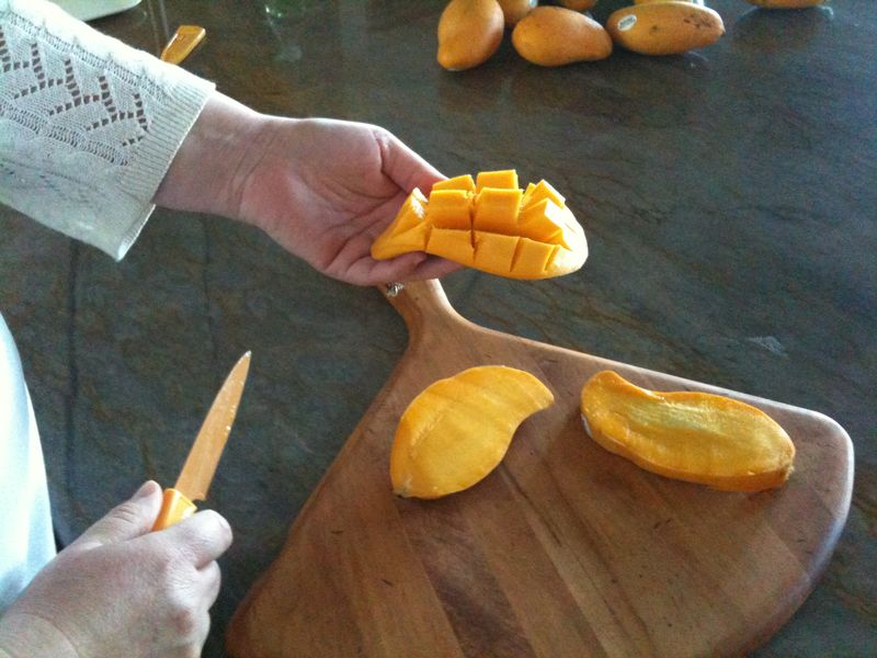 Turning mango inside out