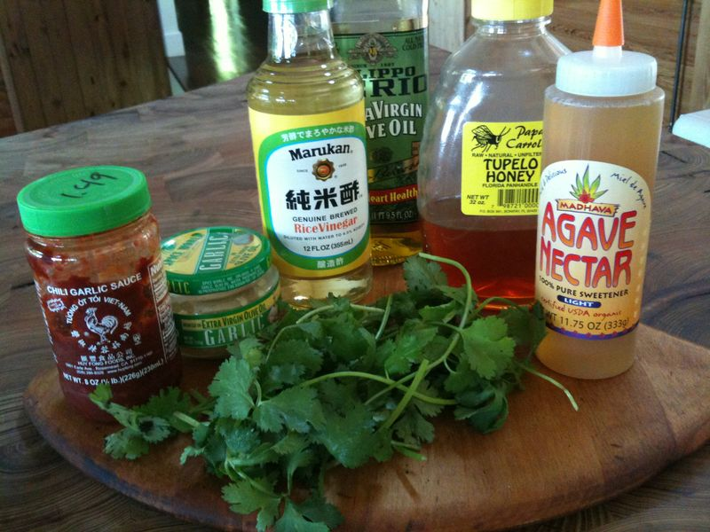 Ingredients mango shrimp salad