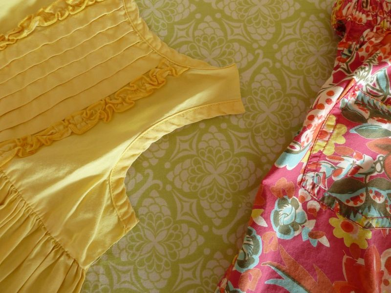 Yellow dress & green fabric