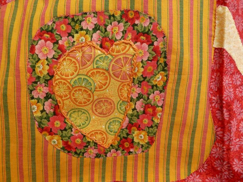 Close up quilt of Nica, heart