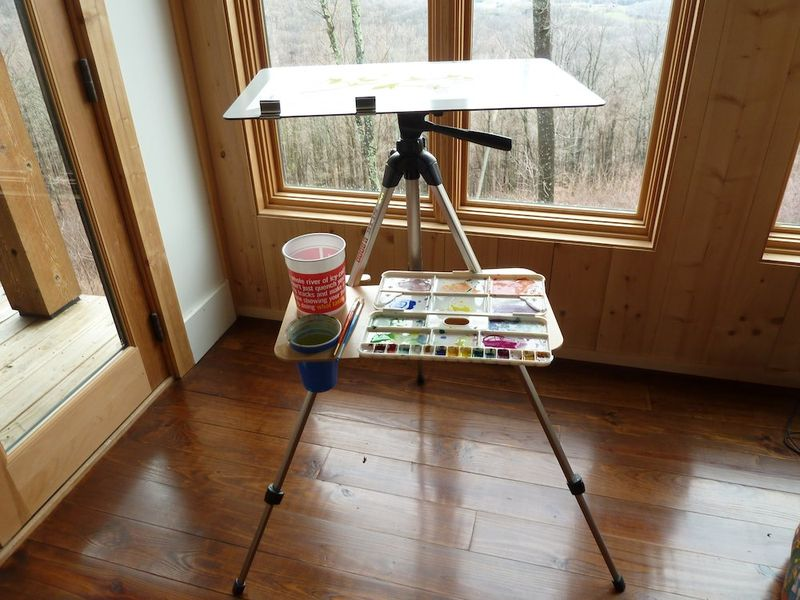 Easel by the window