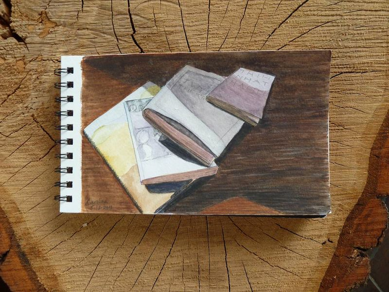 Book-watercolor on trunk slice