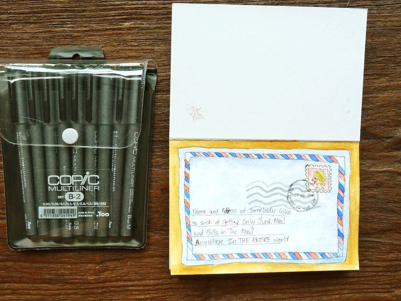 Copic ink pens & postcard
