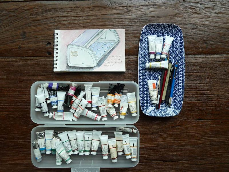 Bread box & watercolor supplies