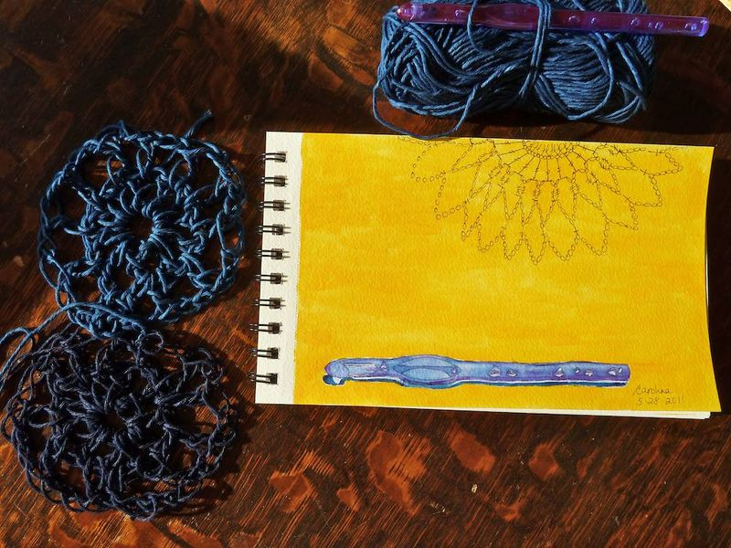 Blue crochet hook & Denim yarn