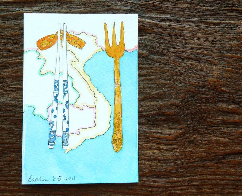 Chopsticks or Fork watercolor