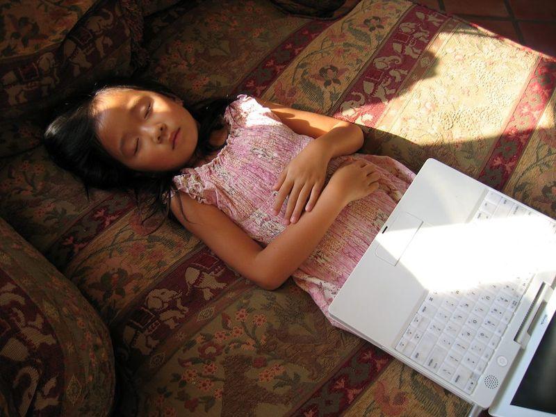 Laela asleep with laptop