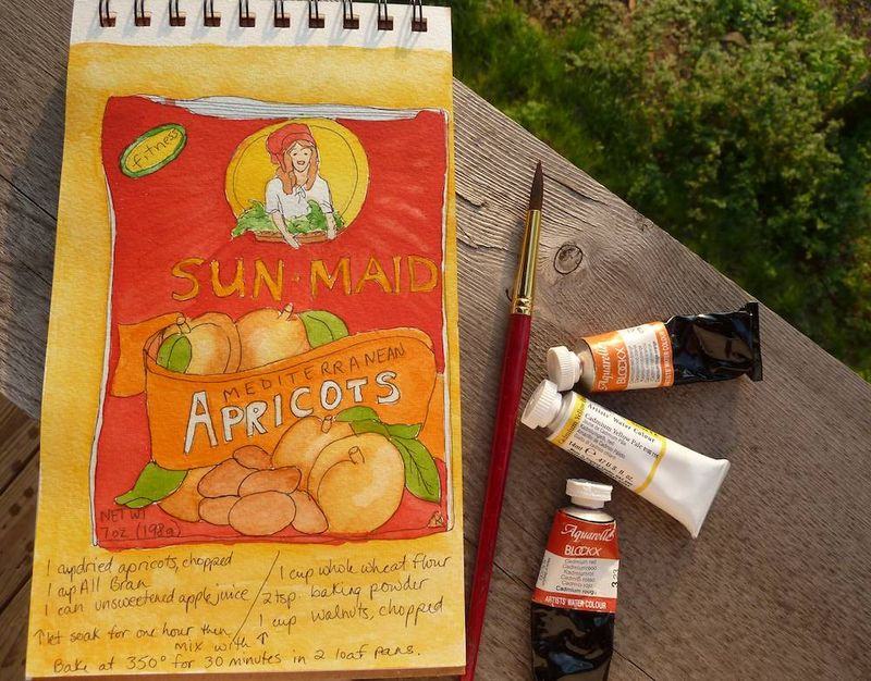 Sun-Maid Apricot Loaf recipe painting