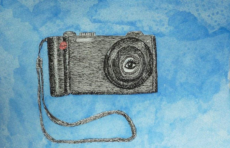 Leica drawn with ink:red pencil:watercolor