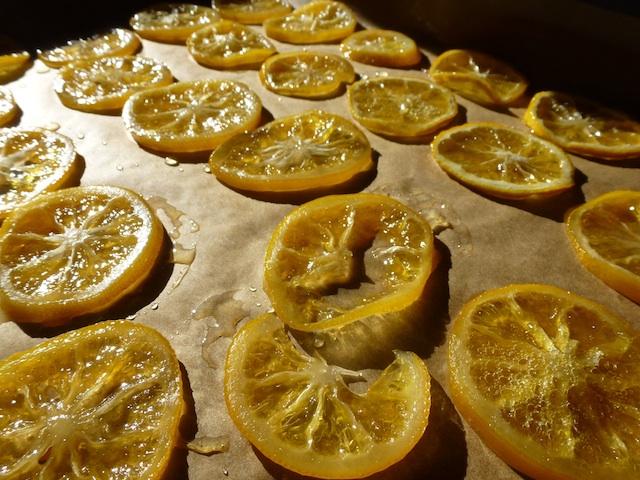 Lemon slices drying