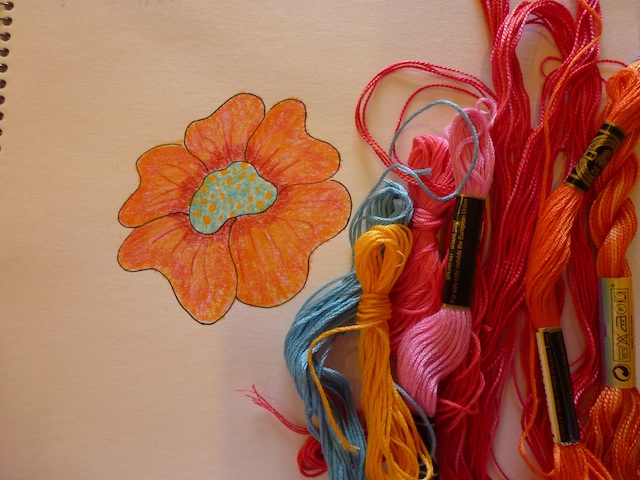 Orange flower embrodery