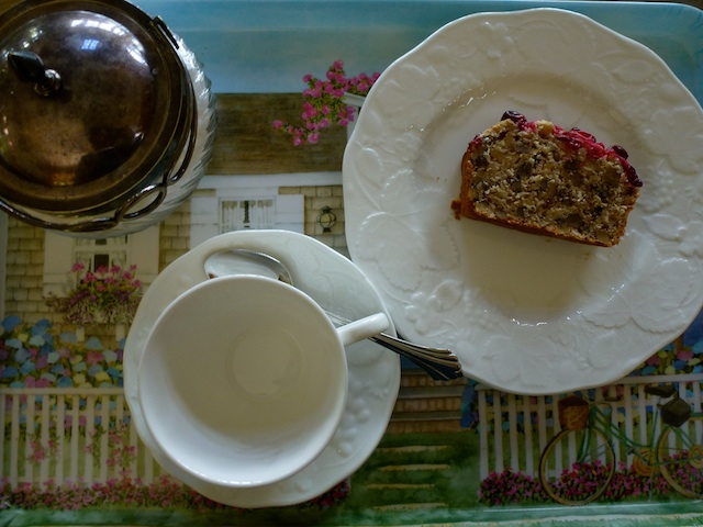 Banana & oatmeal loaf on tea tray