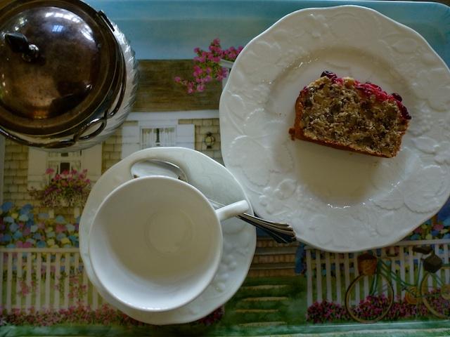 Banana & oatmeal loaf on tea tray