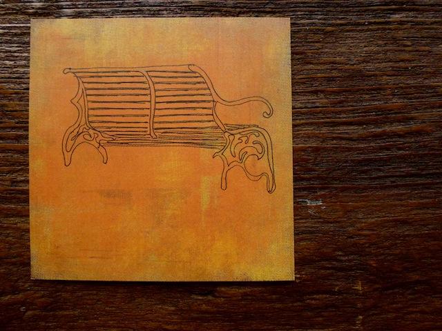 His orange bench