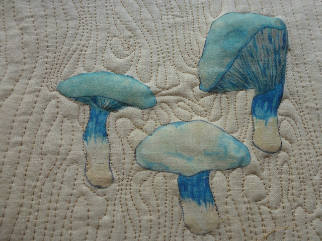 Blue mushrooms quilted