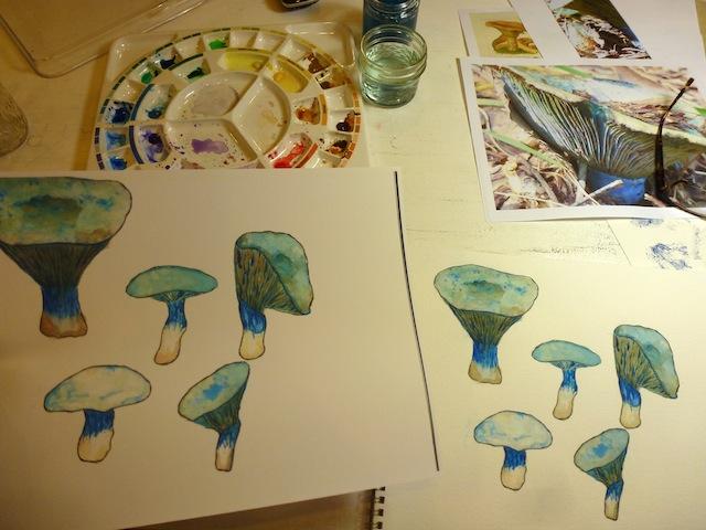 Blue mushroom painting & transfer