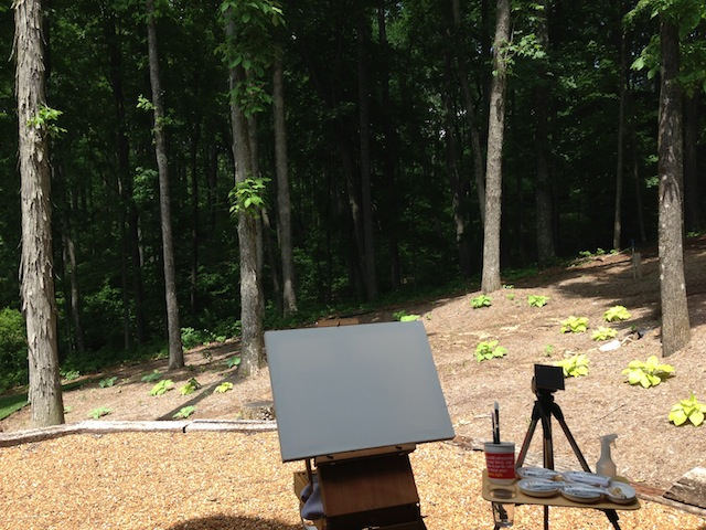 Easel before the woods
