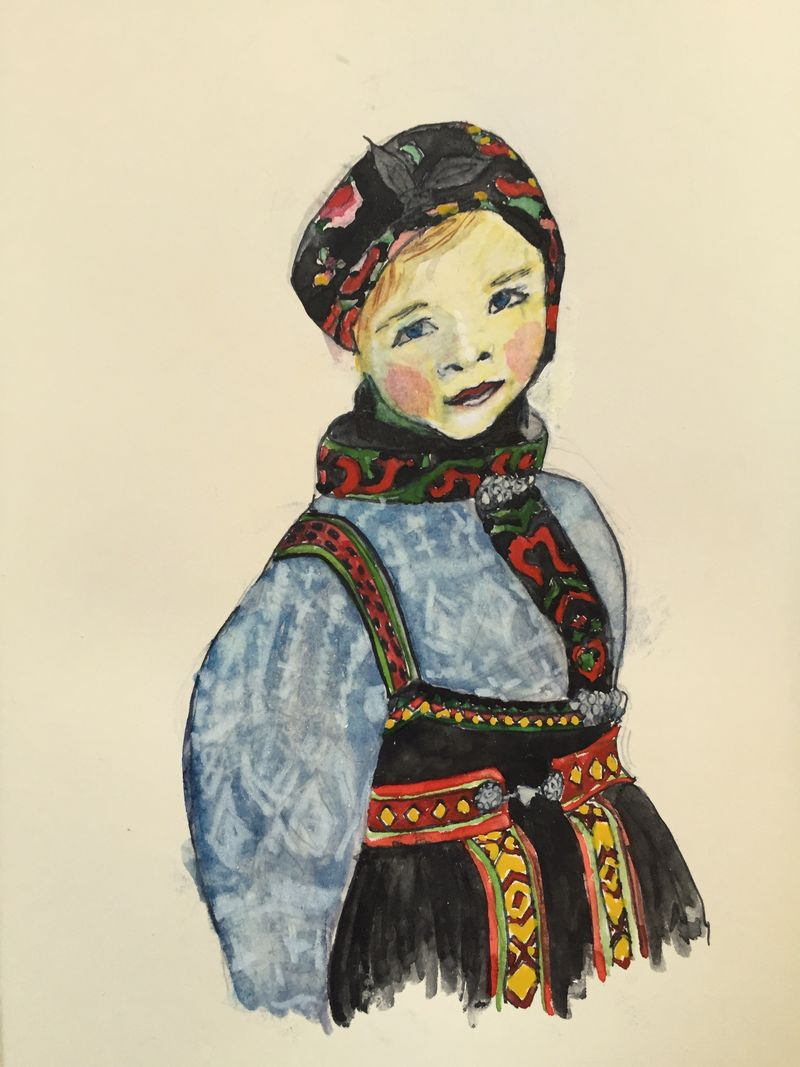 Pinterest Peep #14 Bunad from Setesdalen, Norway Watercolor Sketchbook Carolina Ellis