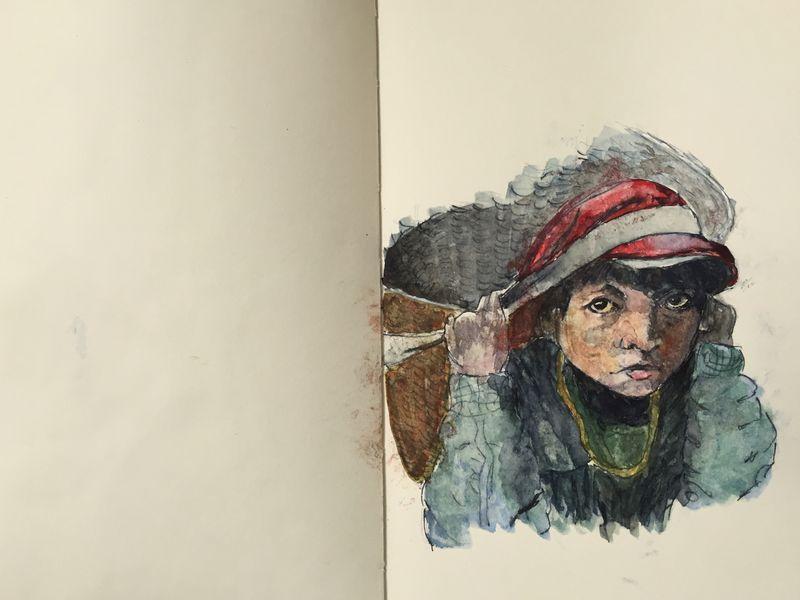Pinterest Peep #6 Marpha Nepal. Watercolor Sketchbook Carolina Ellis