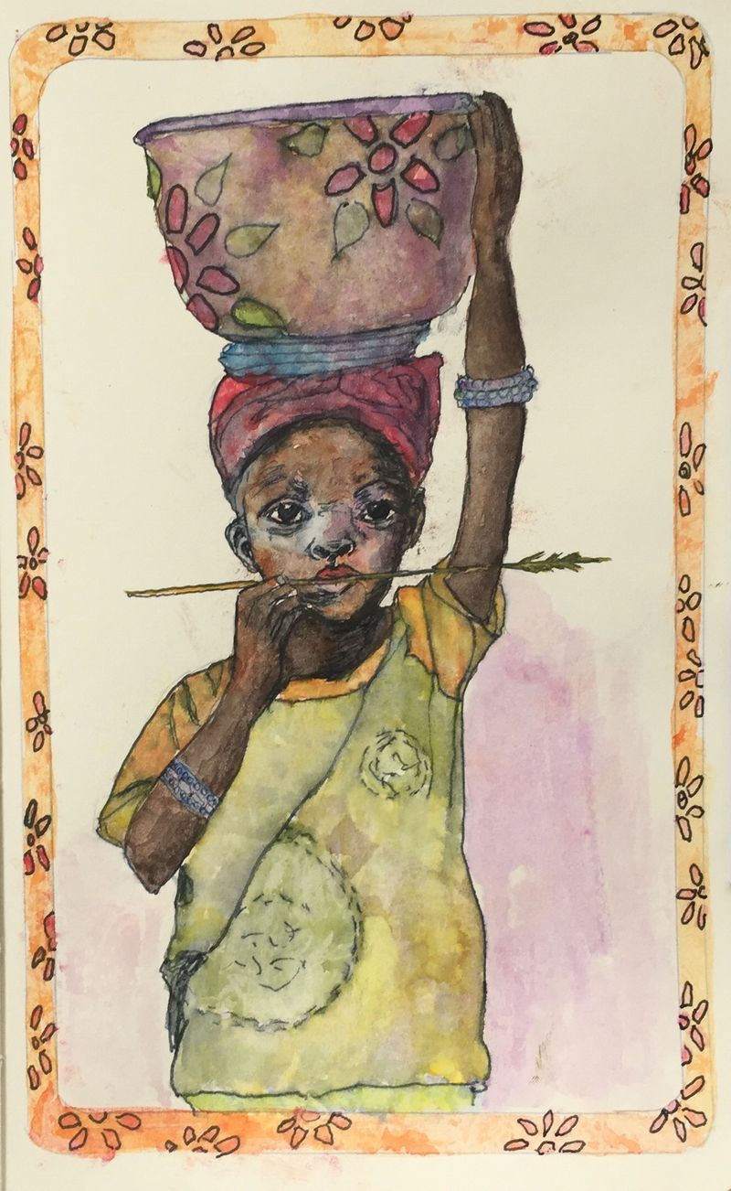 Pinterest Peep #2 Burkina Faso, Afica Watercolor Sketchbook Carolina Ellis