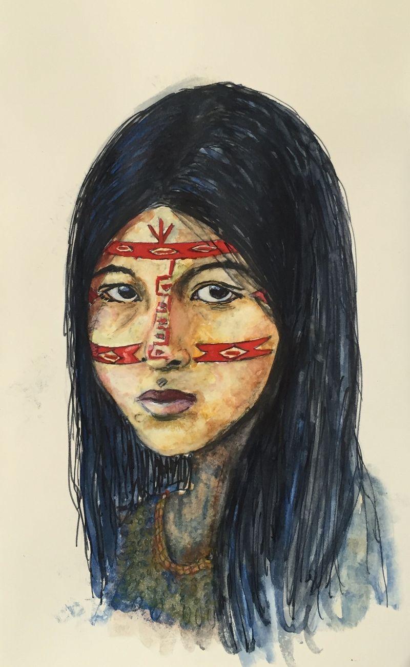 Pinterest Peep #9 Kichwa Woman, Ecuador Watercolor Sketchbook Carolina Ellis